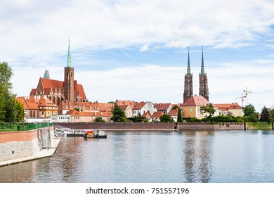 travel to Poland - view of Cathedrals and Ostrow Tumski island of Oder River in Wroclaw city in september