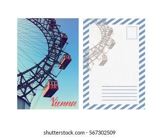 travel postcard with back; Austria Vienna