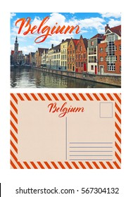 travel postcard with back, belgium