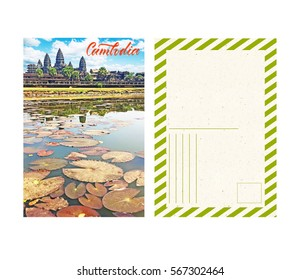 travel postcard with back, cambodia