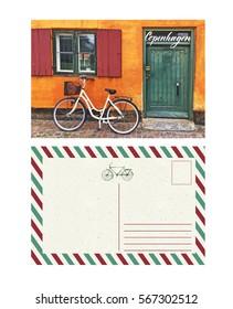 travel postcard with back, Denmark, Copenhagen