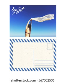 travel postcard with back, egypt