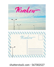 travel postcard with back, krakow, poland