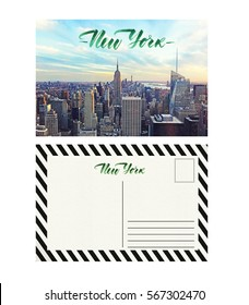 travel postcard with back, new york