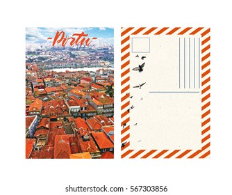 travel postcard with back, portugal