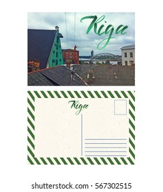 travel postcard with back Riga Lithuania