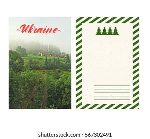 travel postcard with back, ukraine