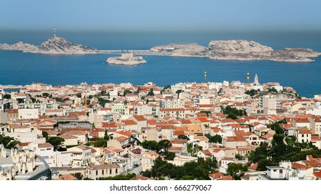 Travel to Provence, France - above view of Marseilles city and Chateau d'If island