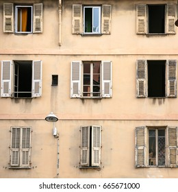 Travel to Provence, France - facade of residential house in Nice city