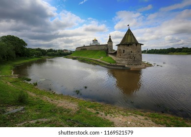 Travel in Russia. Ancient Russian city of Pskov, a beautiful view of the Pskov Kremlin