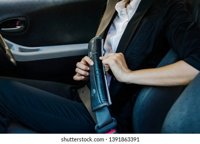 Travel safety concept : Seat belts in the car are safe to use for cars that should not be overlooked.