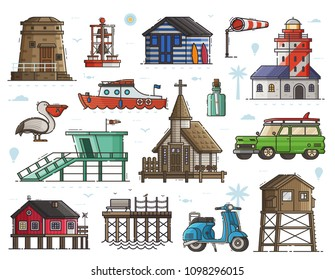 Travel seaside town elements with typical sea coast and fishing village icons. Lighthouse, marine church, baywatch, scooter, surf car, stilted house, boat and more. Maritime collection.