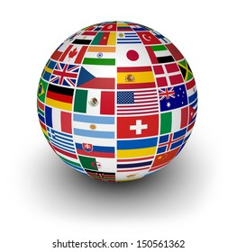 Travel, services and international business concept with a globe and international flags of the world on white background.