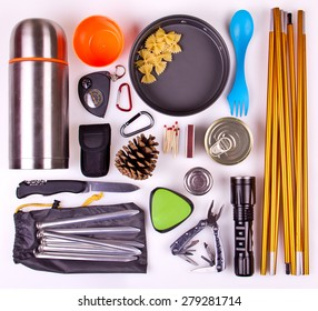 Travel set. Tourist outfit for camping or hiking. Various professional tools and items for outdoors pastime on white background.