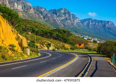 Travel to South Africa. Scenic highway on the Cape of Good Hope in the Atlantic. The concept of active tourism and recreation