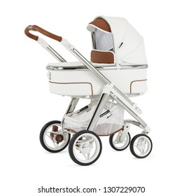 Travel System Isolated on White Background. Side View of White Baby Stroller with Carry Cot. Infant Carriage Seat. Pram with Canopy and Swivel Front Wheels. Pushchair with Showerproof Hood