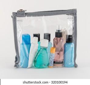Travel Toiletries in Clear Plastic Bag