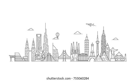 Travel and tourism background. Famous buildings and monuments.