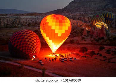 Travel and tourism by Turkey. Famous sightseeing Cappadocia. Lights of air balloons.
