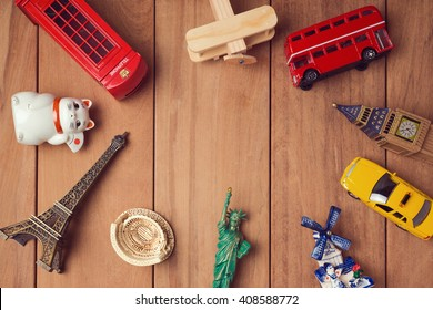 Travel and tourism concept with souvenirs from around the world. View from above