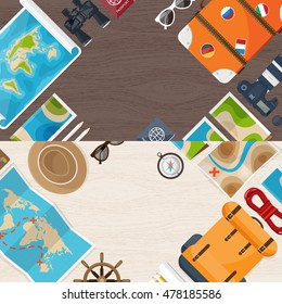Travel and tourism. Flat style. World, earth map. Globe. Trip, tour, journey, summer holidays.