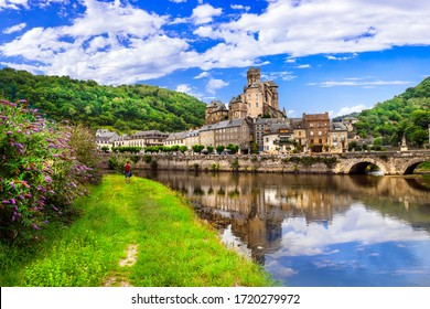 Travel and tourism in France. Estaing - one of the most beautiful villages. Aveyron department, Lot river