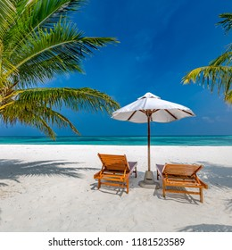 Travel, tourism holiday and vacation. Beach chairs and umbrella on white sand. Exotic landscape - Natural square background photo