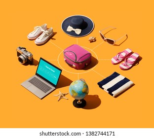 Travel and tourism isometric infographic with accessories, laptop and suitcase