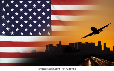 Travel and transport concept with skyline silhouette, highway traffic and airplane at sunset merged with real fabric flag of USA