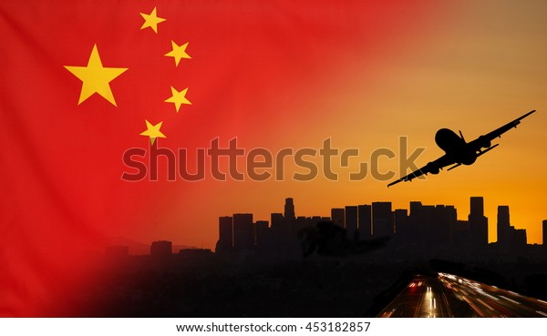 Travel and transport concept with skyline silhouette, highway traffic and airplane at sunset merged with real fabric flag of China