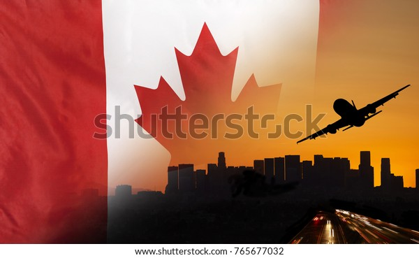 Travel and transport concept with skyline silhouette, highway traffic and airplane at sunset merged with real fabric flag of Canada