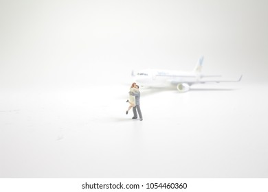 a Travel transportation Concept. Group of miniature