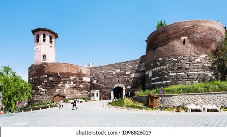 Travel to Turkey - gate to Old Ankara Castle on Gozcu square. Ankara Castle is a citadel from early medieval years