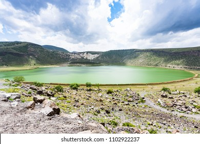 Travel to Turkey - panorama of Narligol Crater Lake (Lake Nar) in Geothermal Field in Aksaray Province of Cappadocia in spring