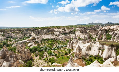 Travel to Turkey - view of valley in Goreme National Park in Cappadocia in spring