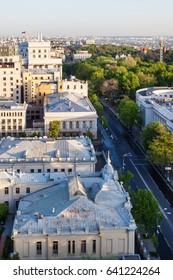travel to Ukraine - above view of mykhailo hrushevsky street near Verkhovna Rada building in Kiev city in spring dawning