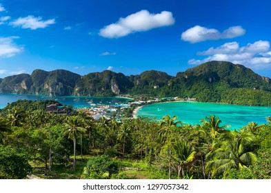 Travel vacation background. Beautiful paradise tropical island  Phi-Phi Don, view point. Krabi Province, Thailand