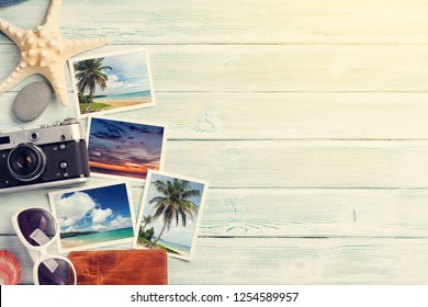 Travel vacation background concept with weekend photos on wooden backdrop. Top view with copy space. Flat lay. All photos taken by me