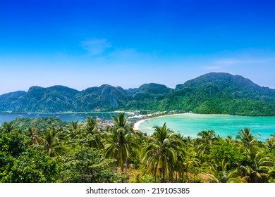 Travel vacation background - Phi-Phi island, Krabi Province, Thailand, Asia