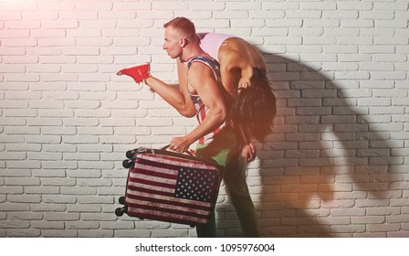 Travel, vacation, tourism, honeymoon. Love story. Happy holidays. Passion. Life. Couple in love. Love story. Hot guy. Fashion concept. Sensual. Adult. Sensual. Love story. American flag. Happy. Life.
