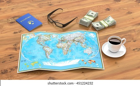 travel, vacation travel, tourism layout - close-up map of the world, passport, money, a cup of coffee or tea and glasses on a wooden table. 3d illustration