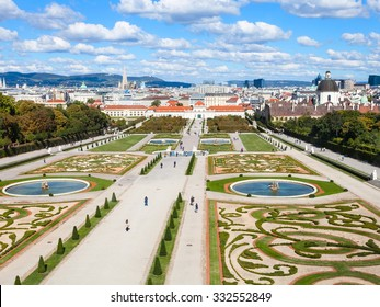 travel to Vienna city - skyline and Belvedere gardens, Austria