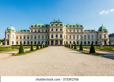 Travel to Vienna city skyline and Belvedere gardens photo. Castle in old Vienna Austria