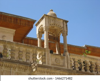 Travel view of Sanliurfa featuring house art gallery loggia. The image location is Turkey in Europe.
