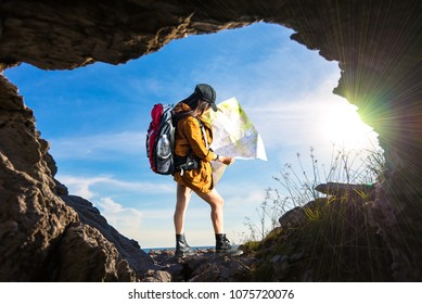 Travel women in a cave near the sea in Keo Sichang,Travel people women tourist in a cave near the sea in Keo Sichang, Thailand. Travel Concept