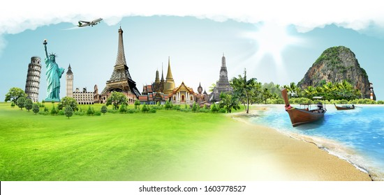 Travel the world monument concept, panoramic view