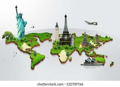 Travel the world monuments concept reflection