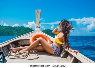 Crazy bikini women on boats logically