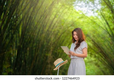 Traveler asian woman using tablet on vacation travel. Woman reading guide book map on tablet computer, using internet, relaxing in the middle of Bamboo grove, Tunnel bamboo trees. Copy space