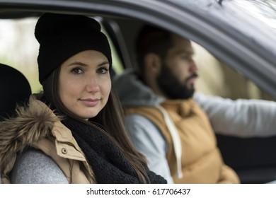 Traveler couple in car